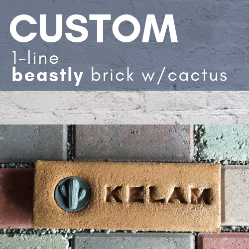 buff colored cactus brick with the name Kelam stamped in and a grey saguaro medallion