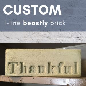 single line custom stamped concrete brick with the word thankful